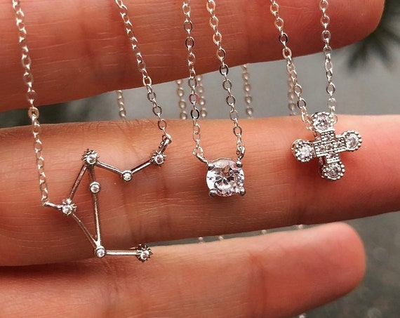 Cubic zirconia necklaces, cross necklace, zodiac  necklace, wedding jewelry, sister jewelry