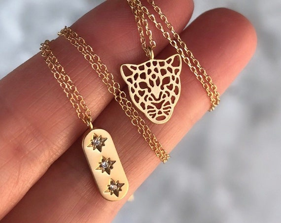 Tiger necklace and bar necklace