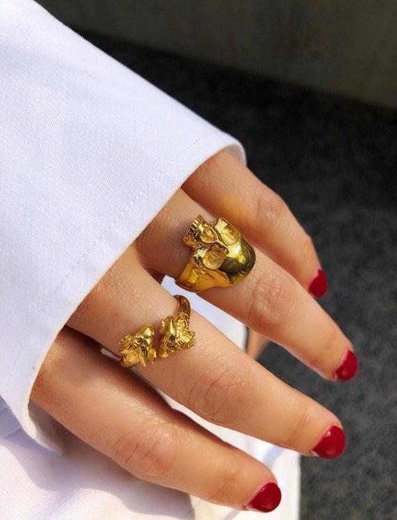 gold-skull-ring,-zodiac-aries-rams-ring by etsy