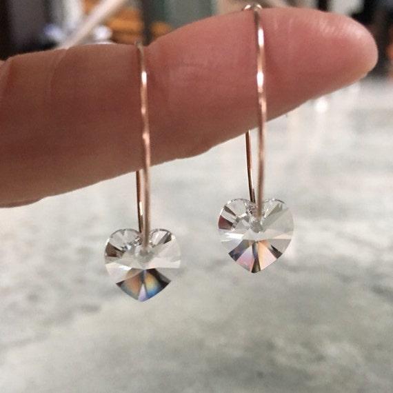Heart crystal Hoop Earrings, Hoops, Wedding jewelry, Valentines Day, April birthstone