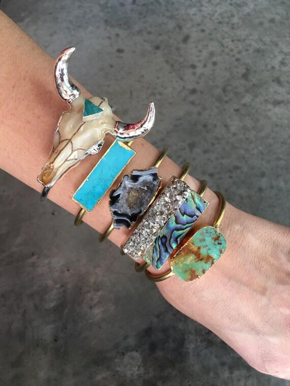 Turquoise Cuff Bracelet, Druzy Bracelet, Abalone Bracelet, Geode Bracelet, Crystal Bracelet, longhorn bracelet, boho jewelry