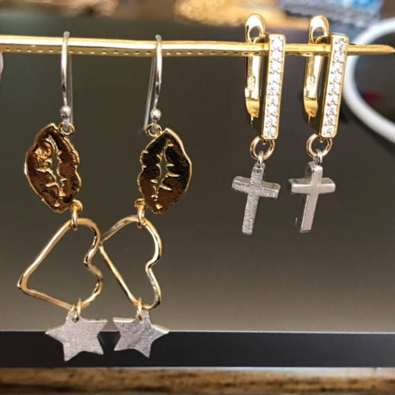Lips.Hearts.Star. Cross Jewelry, Boho jewelry, star earrings, lip earrings, one of a king