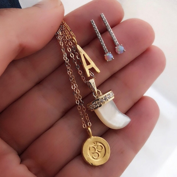 Boho Jewelry, Om necklace, horn necklace, initial necklace