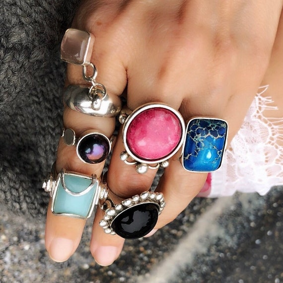 Statement gemstone rings, one of a kind jewelry, amazonite ring, tahitian pearl, rhodochrosite,onyx ring, ocean jasper riny