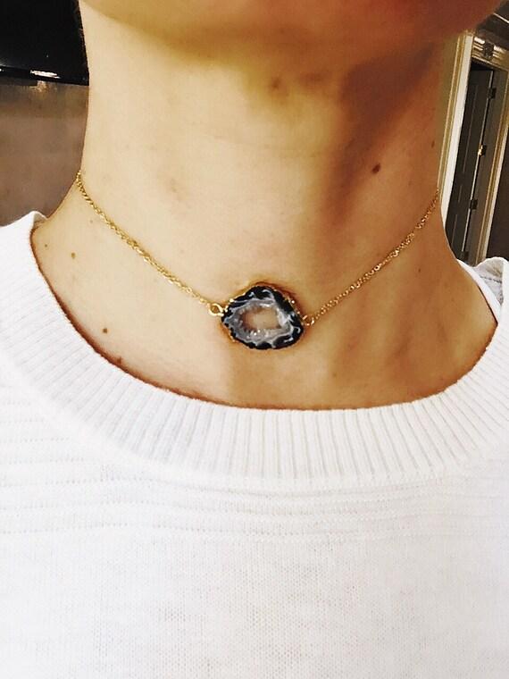 Geode Druzy Choker Necklace, Boho jewelry, chokers, Bobo wedding