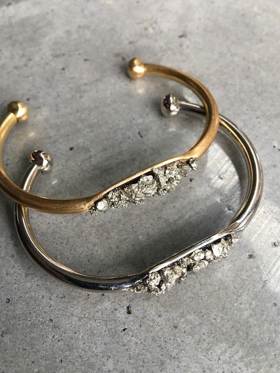 Pyrite Druzy cuff bracelet, Druzy Jewelry, Aunt gift, boho jewelry