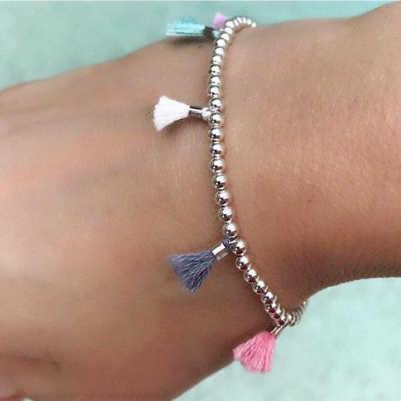 Tassel Bracelets, Tassel jewelry, silver bracelets, boho jewelry