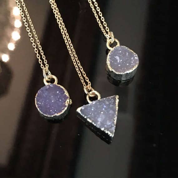 Druzy necklaces, Druzy Jewelry, Crystal necklace, aunt gift, bridesmaids jewelry