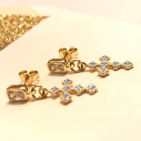 Cross and crystal earrings, cross earrings, boho chic, cross jewelry, bridesmaids jewelry