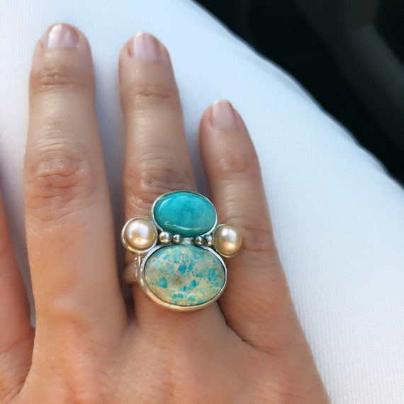 Turquoise and Pearl Silver Ring, birthstone Ring, One of a kind ring, boho jewelry