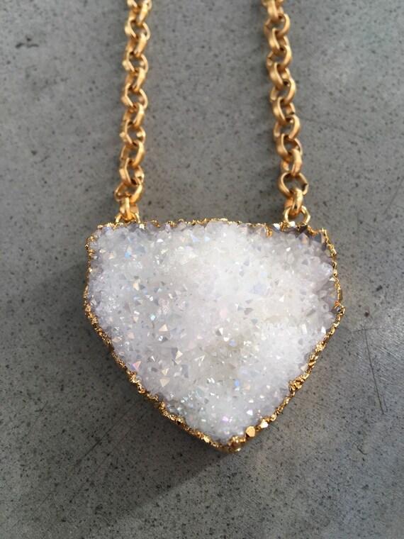 Druzy necklace, boho jewelry, statement jewelry, Quartz Druzy jewelry