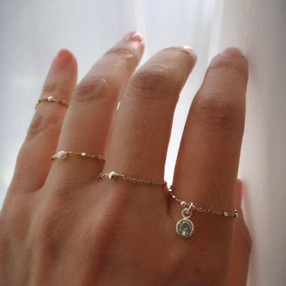 Chain rings, herkimer diamond ring, daninty rings, personalized birthstone ring, midi ring, pearl ring, boho wedding, boho jewelry