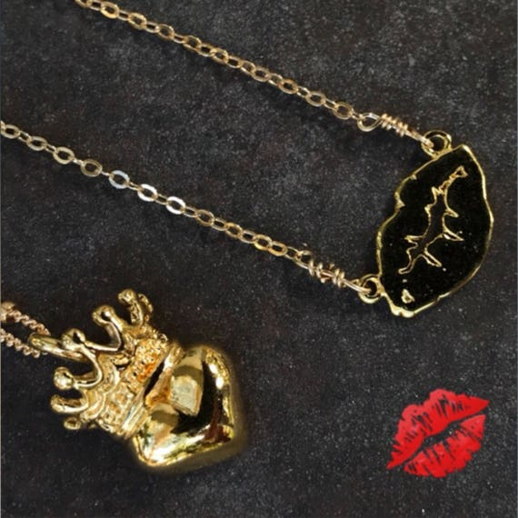 Gold charm necklaces, kiss necklace, heart and crown necklace, boho jewelry