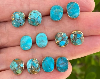 Natural turquoise studs earrings
