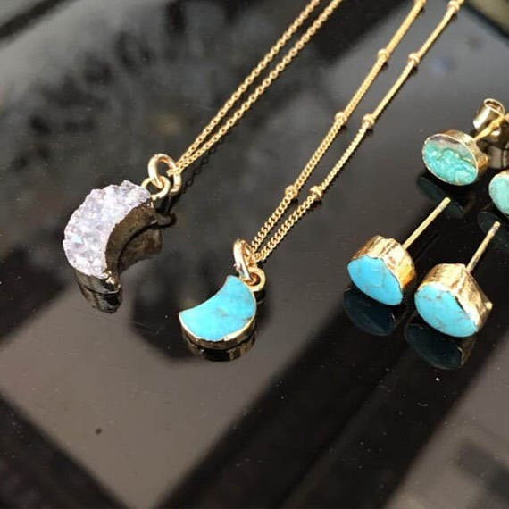 Turquoise necklaces and Druzy necklaces, moon jewelry, moon necklaces, boho jewelry, boho wedding