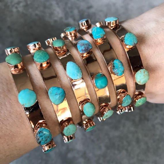 Rose gold Turquoise Cuff Bracelets, boho jewelry, boho wedding, birthstone jewelry, December birthstone, Turquoise jewelry