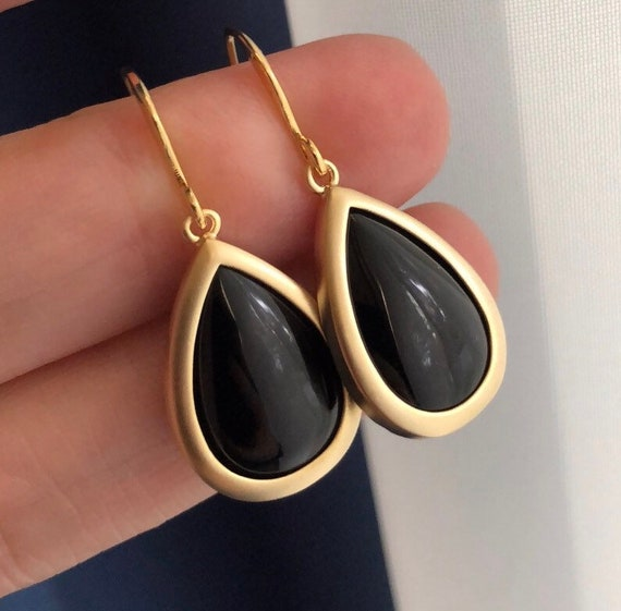 Gold oynx earrings, gifts under 20