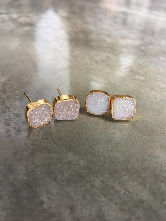 Druzy Quartz Earrings, wedding jewelry, bridesmaid jewelry, sister gift, wife gift, anniversary, Druzy earrings, Druzy Studs