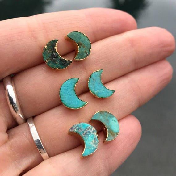 Turquoise earrings, turquoise jewelry, aunt gift, sister gift, boho jewelry, birthstone jewelry, moon earrings