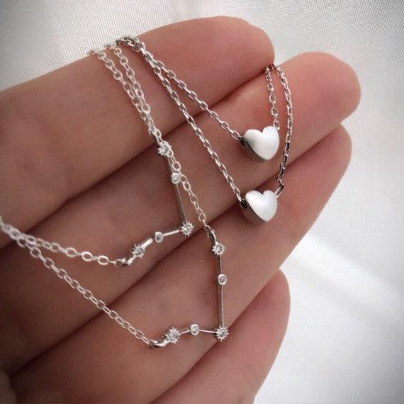 Zodiac necklace, birth sign jewelry, constellation jewelry, Aries, Pisces, Taurus, Gemini, Leo, Free heart necklace with zodiac necklaces