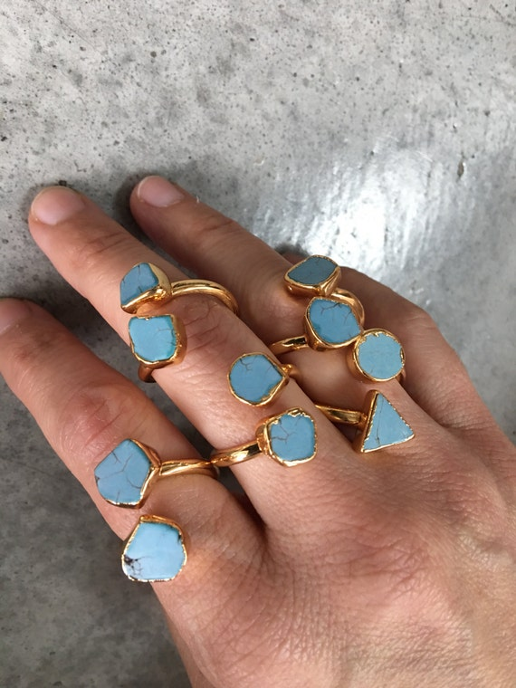 Turquoise Howlite Gold Rings, Boho chic