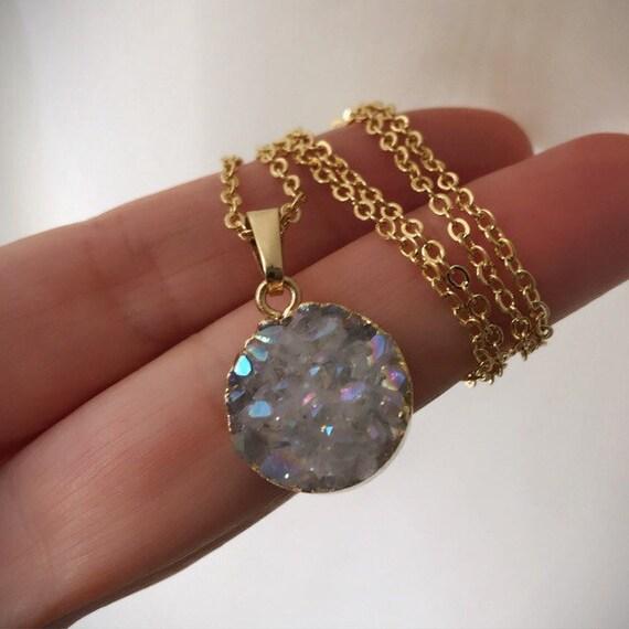 Quartz Druzy Necklaces, Crystal necklaces, boho jewelry