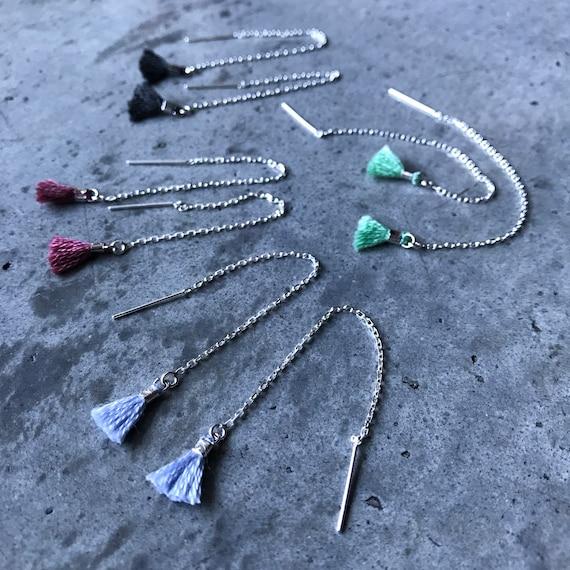 Threader Earrings, boho chic, tassel earrings, boho jewelry, boho wedding, bridesmaids gift
