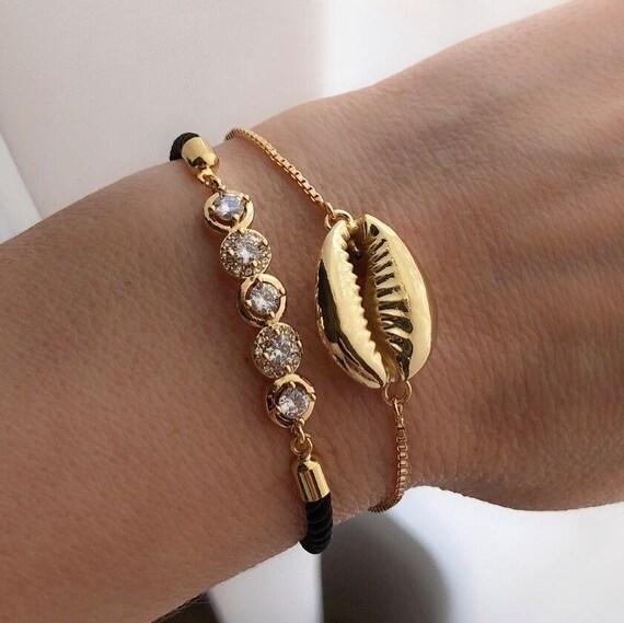 Seashell and rhinestone bracelets