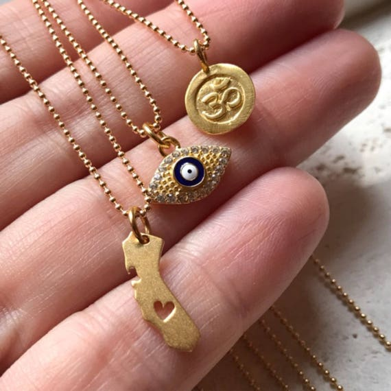 Evil Eye necklace, Om necklace, California necklace, chain necklaces, charms, charm necklaces, boho jewelry, State jewelry
