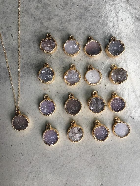 Druzy Necklaces, Boho Jewelry, Quartz Crystal Jewelry, Bridesmaid Gifts, Wedding Jewelry