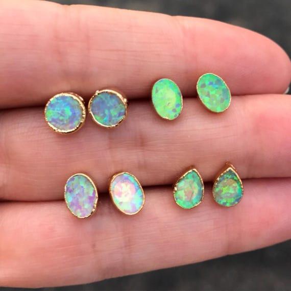 Opal Earrings, Opal Jewelry, opal Studs, Birthstone jewelry, October birthstone, Libra