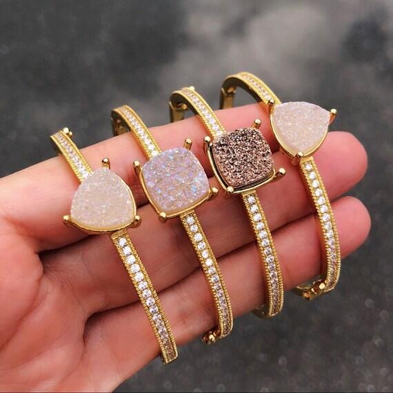 Druzy rhinestone bracelets