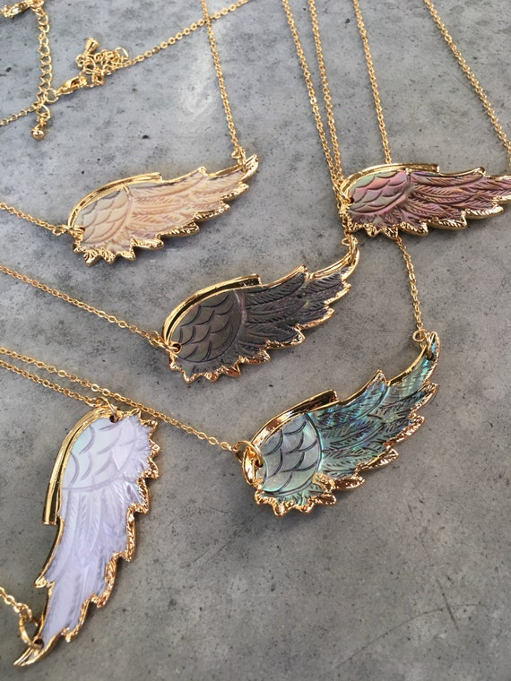 Angel Wing Necklaces, Shell Necklaces, boho jewelry, Feather necklace, angel wings jewelry, Feather jewelry