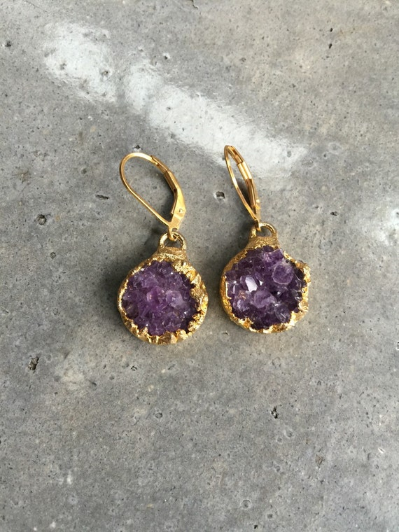 Amethyst Druzy earrings, druzy jewelry, February Birthstone, Boho wedding, Boho Jewelry, Raw Amethyst, Birthstone Jewerly