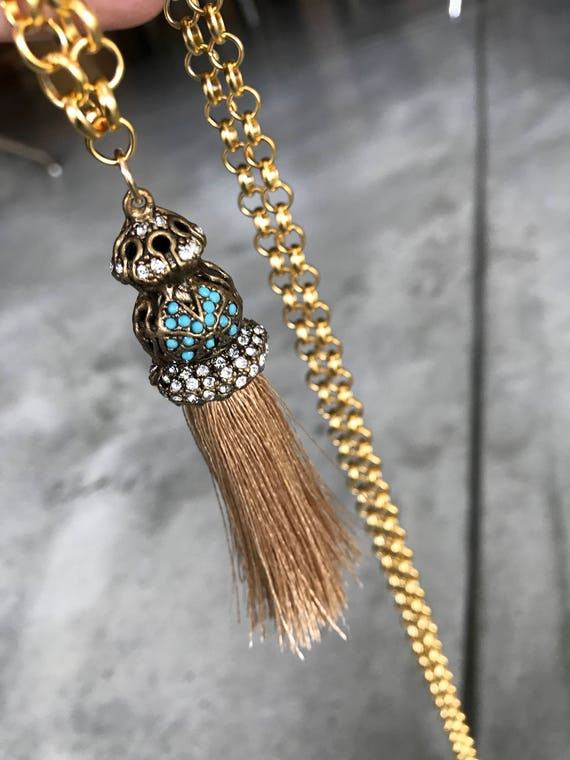 Tassel necklace, boho jewelry, tassels, long layered necklaces