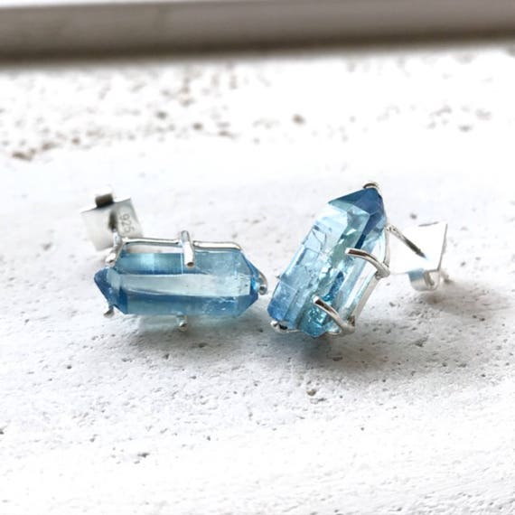 Aqua Aura Earrings, Silver Aqua Aura crystal jewelry