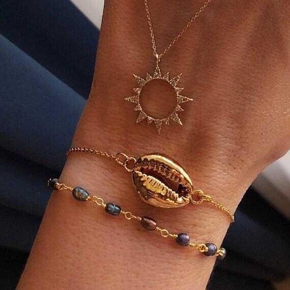 Sunshine beach jewelry, sun necklace, shell bracelet and pearl bracelet