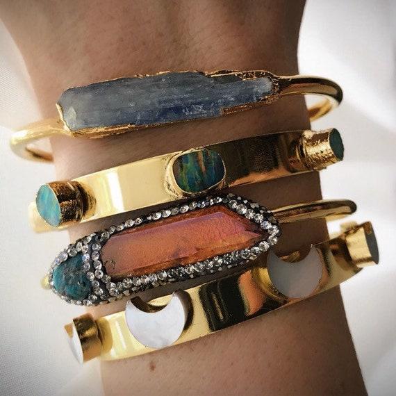 Boho Bracelet Stacks, crystal bracelets, moon jewelry