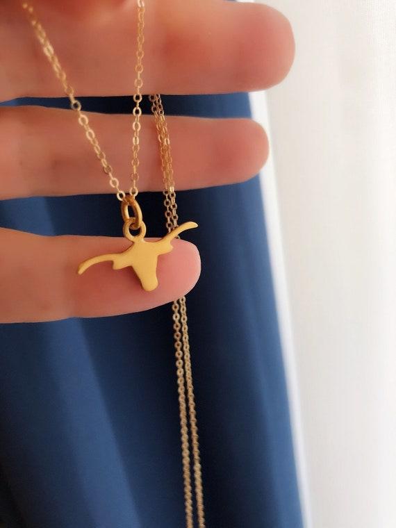 Gold vermeil longhorn necklace, Taurus zodiac necklace
