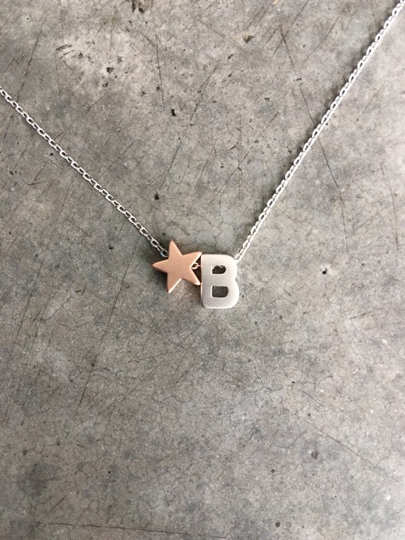 Initial Star Necklace, Personilized necklace, monogram necklace, name necklace, persoalized jewelry