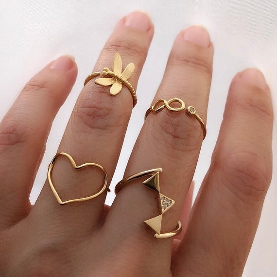 Gold layered Rings, ring stack
