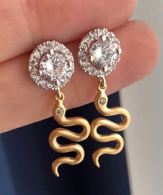 Gold snake earrings with cubic zirconia studs