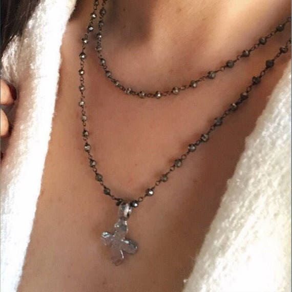 Cross Pyrite Necklace, boho jewelry, long necklace