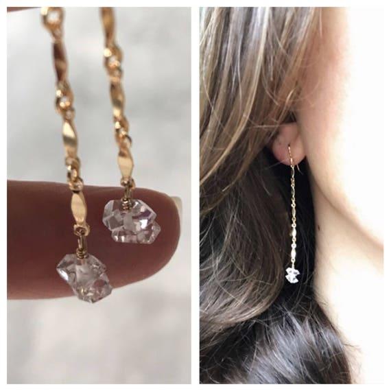Herkimer Diamonds Earrings, Herkimer Diamond jewelry, birthstone jewelry, wedding jewelry, raw crystals