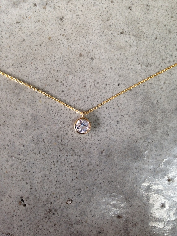 Gold Cubic Zirconia Necklace, April Birthstone, Bridesmaids jewelry