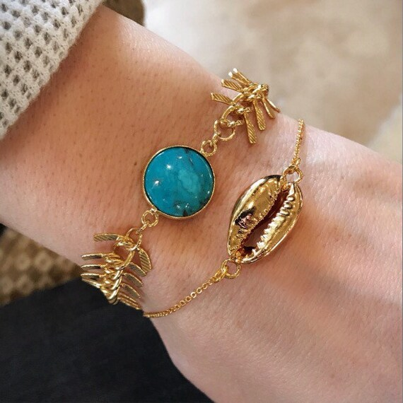 Turquoise bracelet, seashell bracelet, boho jewelry, birthstone jewelry