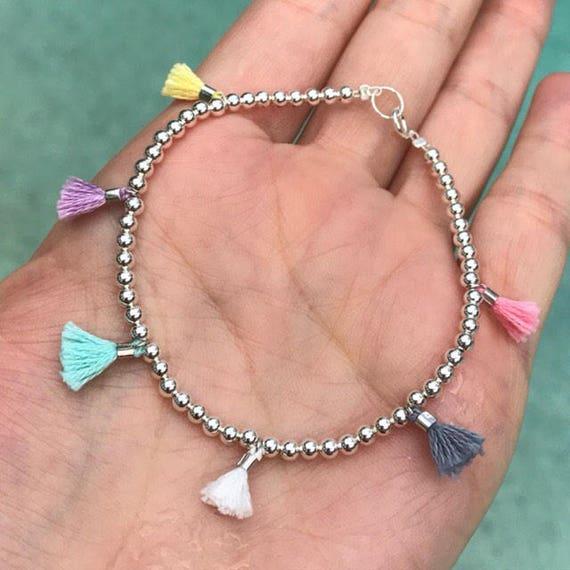 Tassel bracelets, Tassel jewelry, Sterling Silver Bracelets, Boho jewelry, wedding jewelry, Sister gift