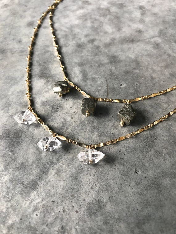 Herkimer Diamonds Necklace and Pyrite Necklaces, Pyrite jewelry, Herkimer Jewelry, gold chain raw crystals, boho jewelry