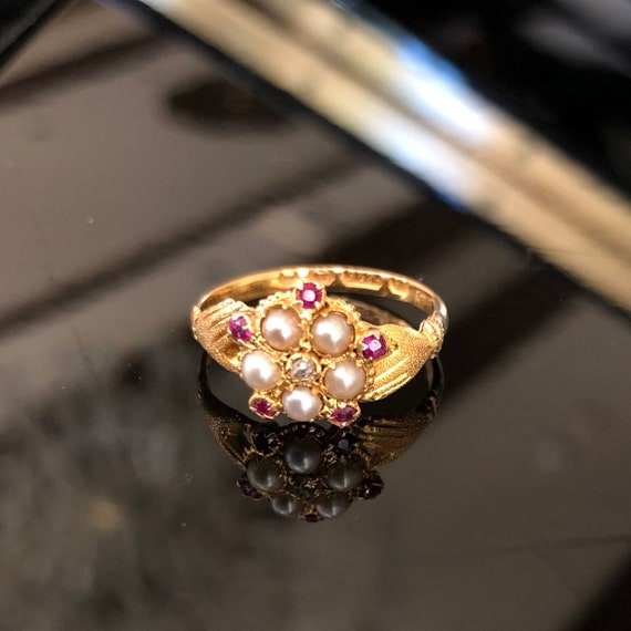 Georgian Antique Pearl and Ruby Ring, Hand ring, boho wedding, birthstone jewelry