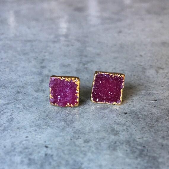 Druzy Earrings, druzy, druzy jewelry, Garnet color
